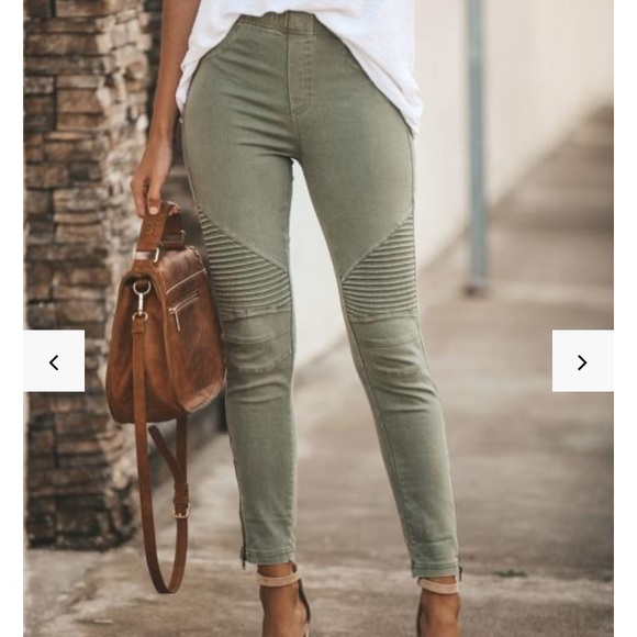Pants - Olive Moto Jeggings